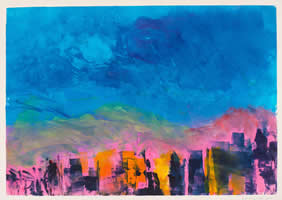 Monotype titled - Sunset on 14th Street
