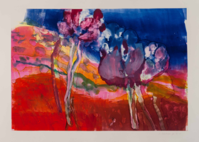 Monotype titled - River, 6: Purple Blossoms